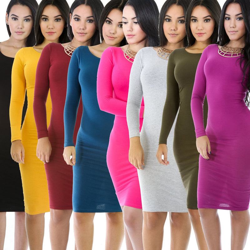 Simple Fashion Long Sleeve Cotton Bodycon Short Dress