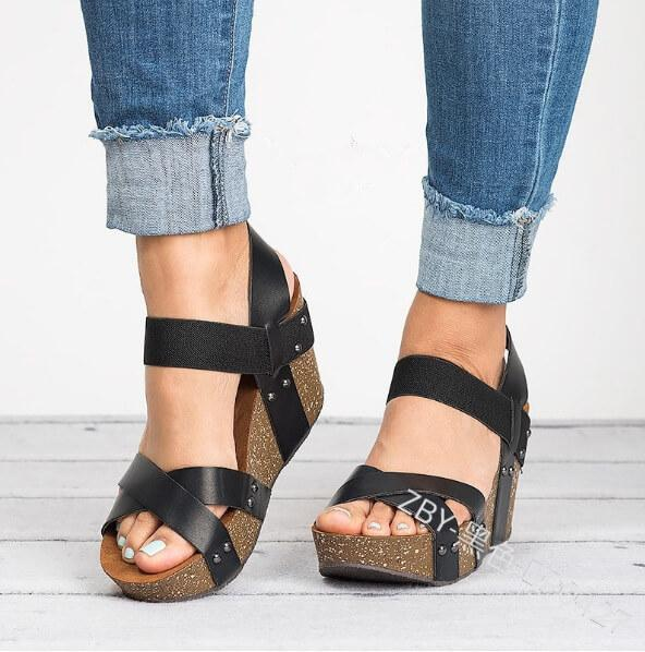 Platfom Cross Strap Rivet Wedge Sandal