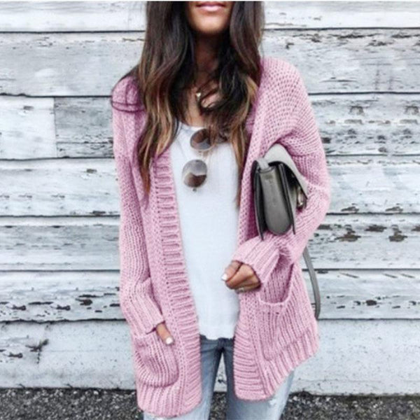 Plain Knitted Midi Cardigan