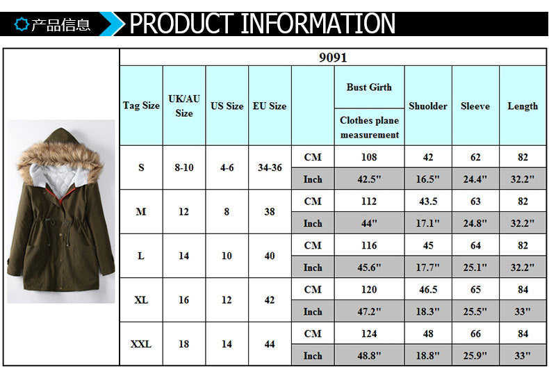 Wool Hooded Long Sleeves Thick Slim Cotton Coat