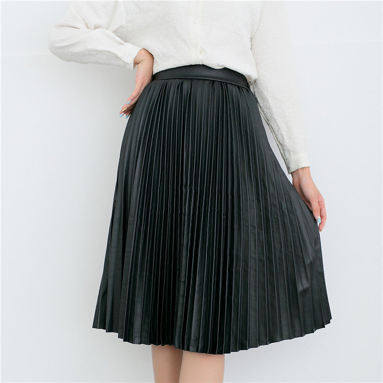 Retro PU High Waist Pleated Knee-Length Skirt