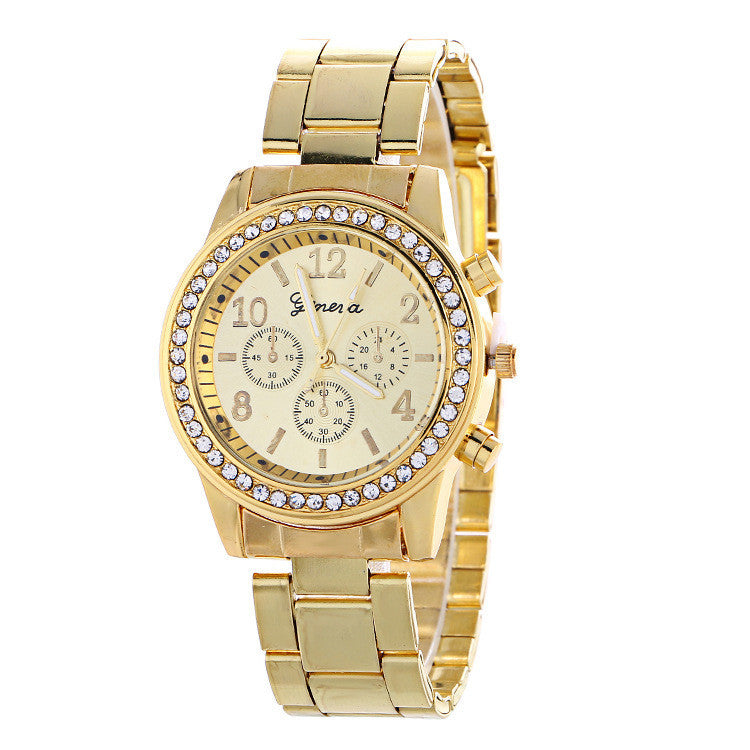 Fashion Alloy Strap Crystal Watch