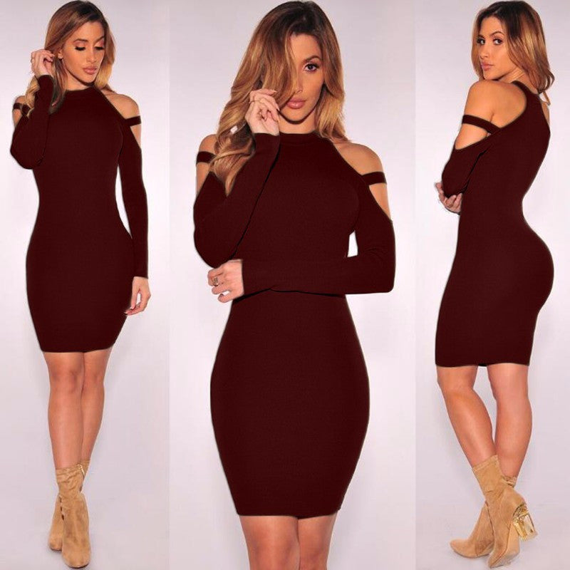 Sexy Bare Shoulder Bandage Scoop Short Bodycon Dress