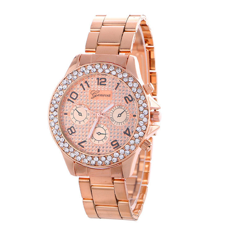 Fashion Alloy Strap Crystal Frosted Watch