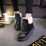 Fashion Lace Up Warm Fur Motor Boots
