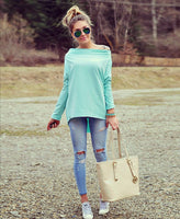 Sexy Scoop Long Sleeve Irregular Hemline Pure Color Blouse