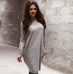 Fashion Loose Hidden Poctkets Long Sleeve Short Dress