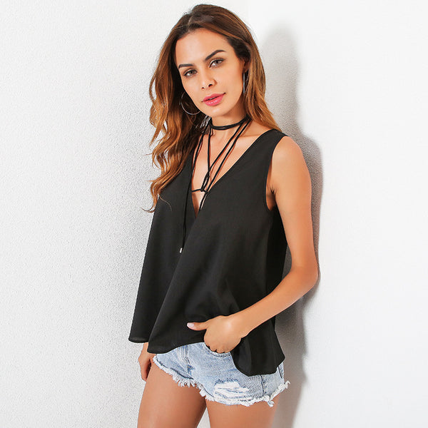 Straps Deep V-neck Sleeveless Loose Tank Top