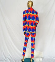 Sexy Colorful Geometric Print Blazer and Pants Two Pieces Set