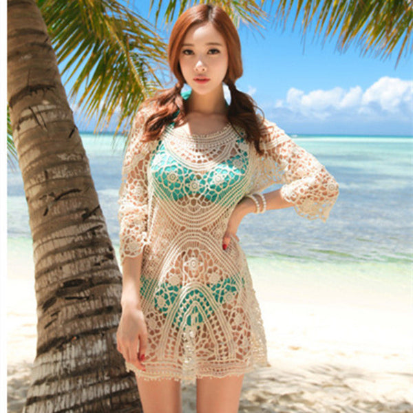 Pure Color Crocheting Lace Hollow Out Short Beach Cover Up Dress