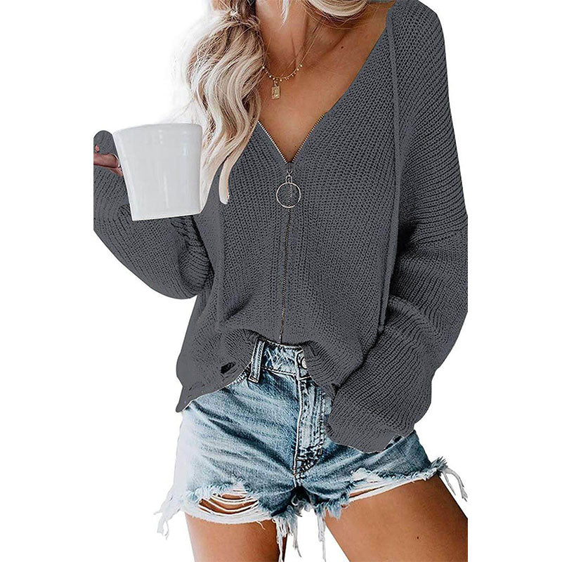 V Neck Zipper Hooded Cardigan
