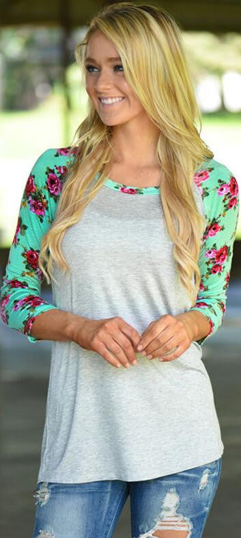 Floral Print Sleeve Patchwork Irregular Long Sleeve T-shirt