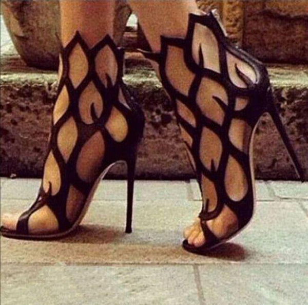 Open Toe Cut Out Gladiator Stiletto Heel Women's Sandals - MeetYoursFashion - 1
