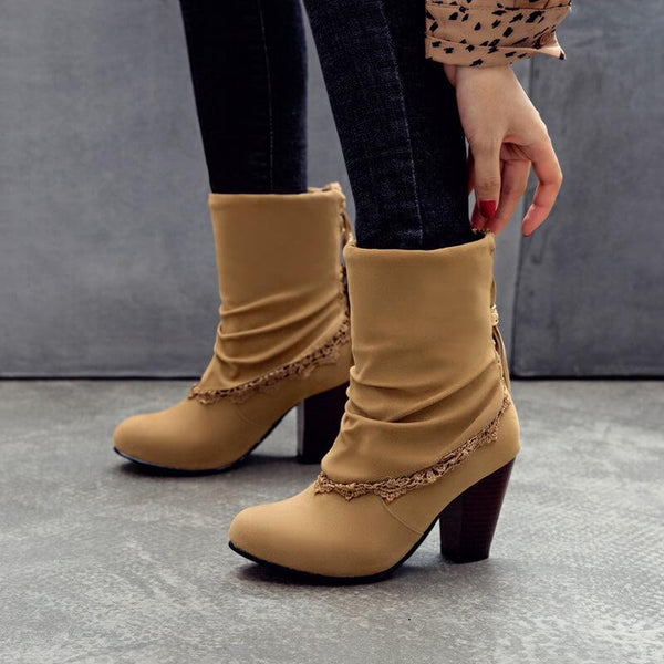 Winter Fringe Suede High Chunky Heel Calf Boots