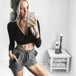 Deep V-neck Long Sleeves Straps Bandage Crop Top