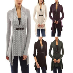 Pure Color Long Sleeves Deep V-neck Long Cardigan
