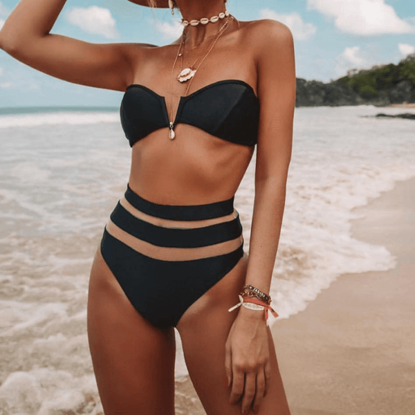 Plain Patchwork High Rise Triangle Tube Bikinis