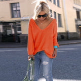 V-neck Loose Knit Pure Color Pullover Sweater - Oh Yours Fashion - 9