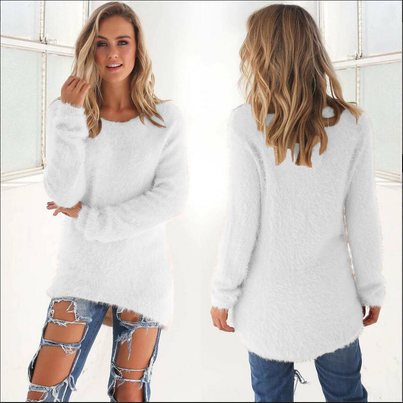 Fashion Pure Color Long Sleeve Sweater