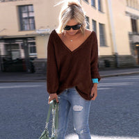 V-neck Loose Knit Pure Color Pullover Sweater - Oh Yours Fashion - 11