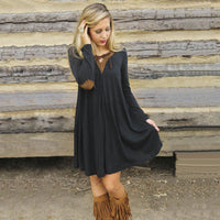 Fashion Loose Style Long Sleeve Patchwork Short Dress