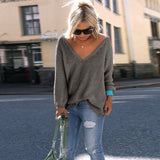 V-neck Loose Knit Pure Color Pullover Sweater - Oh Yours Fashion - 10