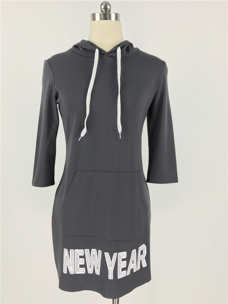 Letter Print Draw String Hoodie Loose Short Dress