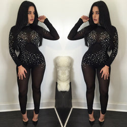 Sexy Long Sleeve Mesh Crystal See-Through Long Jumpsuits