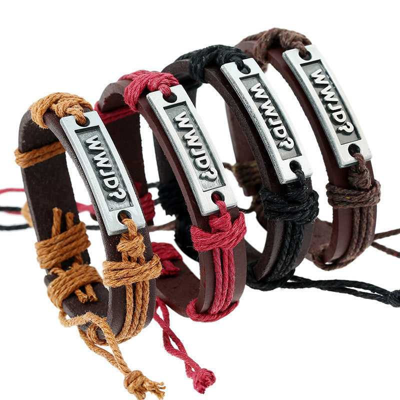 Retro Woven Leather Letters Bracelet Set