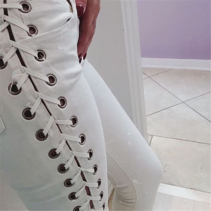 Side Lace Up Fitness Long Denim Pants