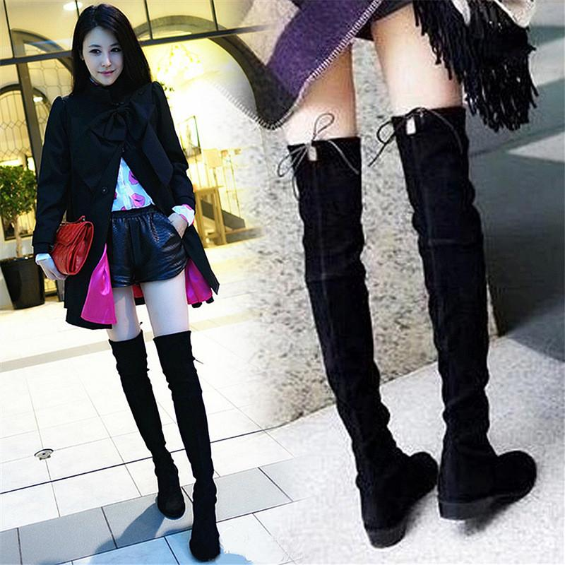 Sexy Black Elastic Over Knee High Boots