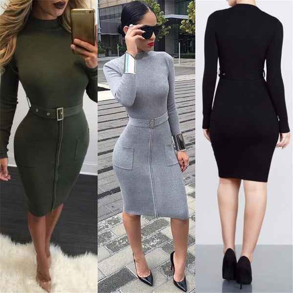 Sexy Knit High Neck Long Sleeve Bodycon Knee-length Belt Dress