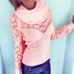 Fashion Hollow Out Heaps Collar Long Sleeve Knit Sweater