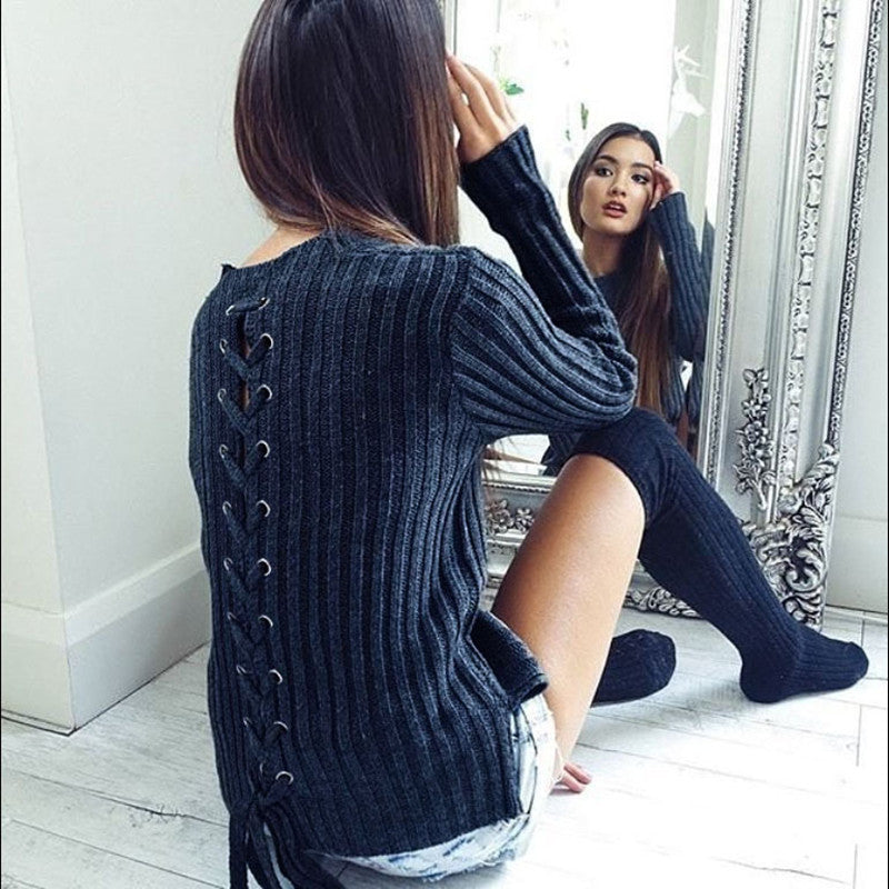 Navy Ribbed Knit Lace Up Sweater
