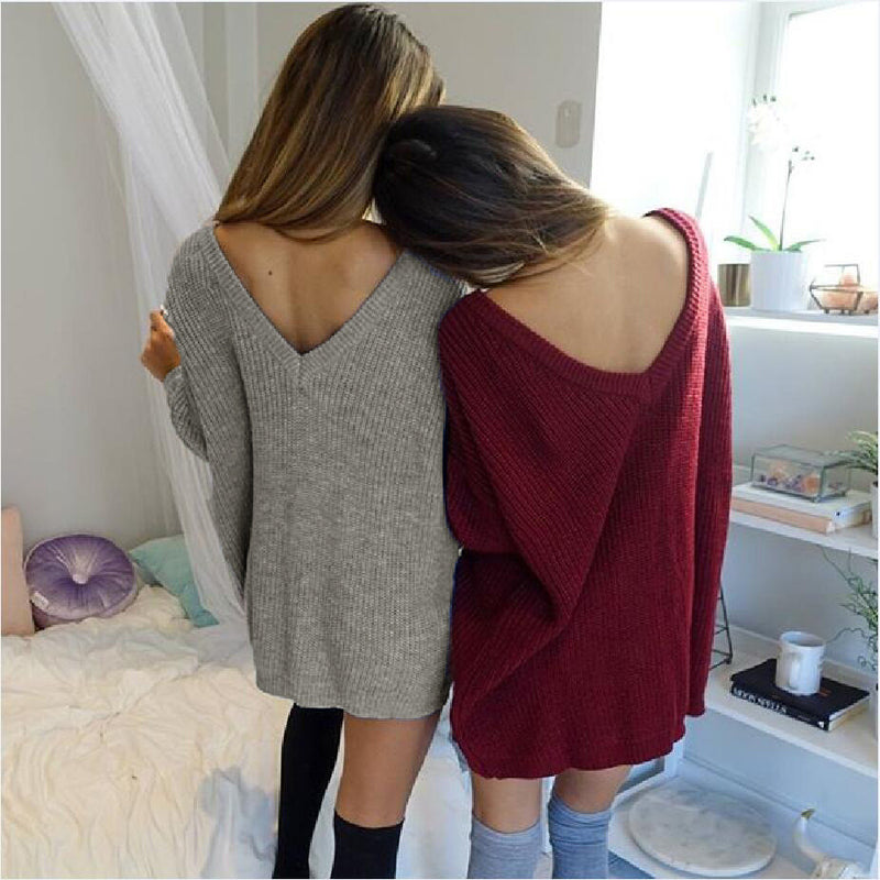 Fashion Pure Color Back Deep V Sweater Dress