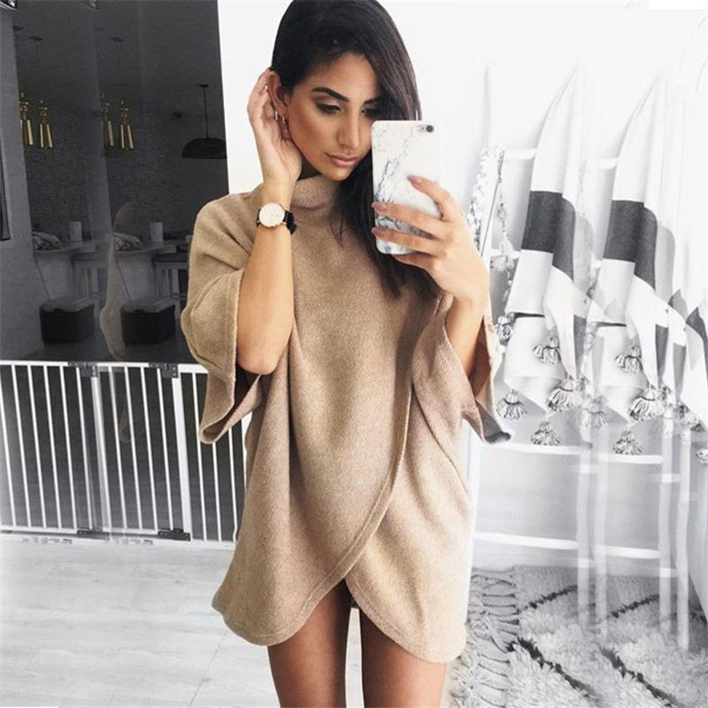 Irregular Turtleneck Knitting Sweater