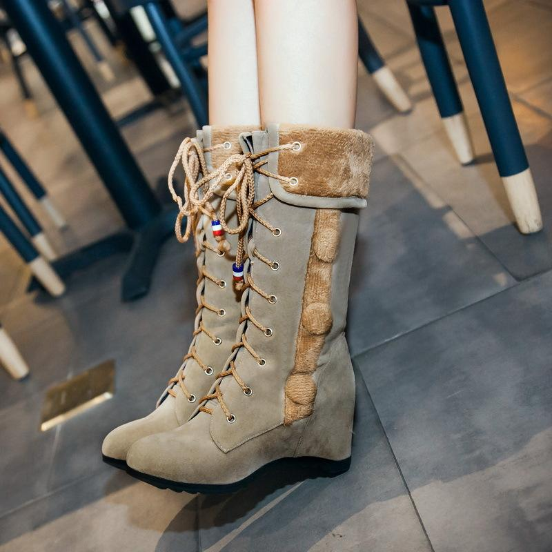 Round Toe Lace Up Faux Fur Decorate Inside Heels Half Boots