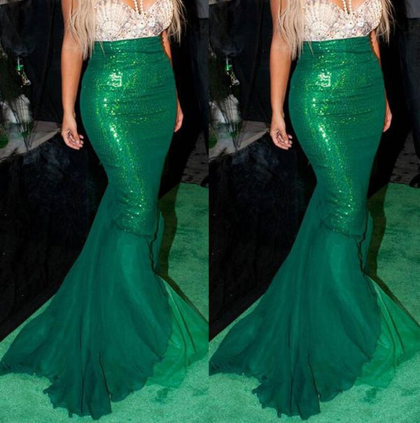 Green Sequins Patchwork Bodycon Long Mermaid Skirt