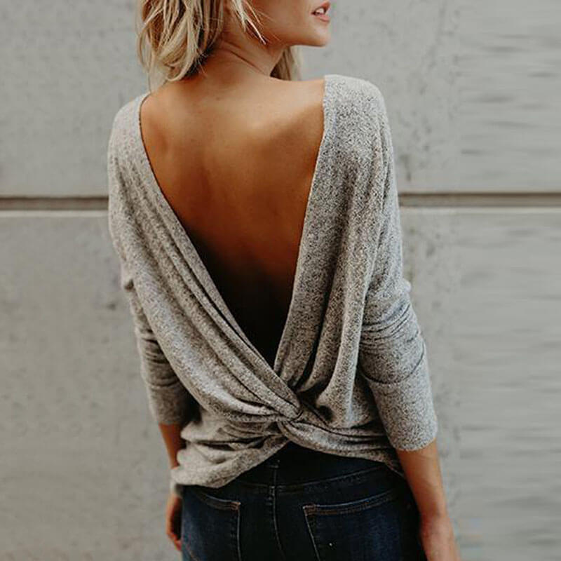 Twist Backless Crew Neck Sweater