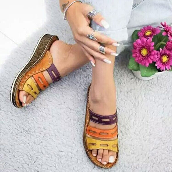 Summer Open Toe Flat Leather Multicolor Slide Sandals