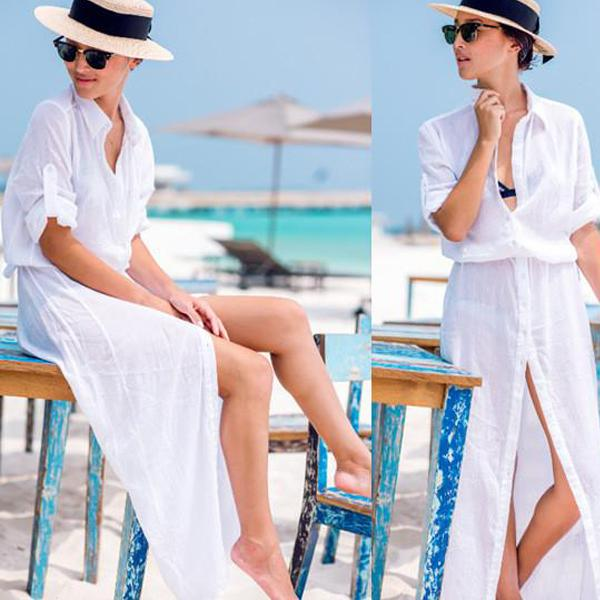 White Chiffon Buttons Shirt Long Cover Up Dress