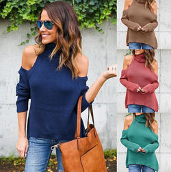 Sexy Bare Shoulder High Neck Long Sleeve Pure Color Sweater