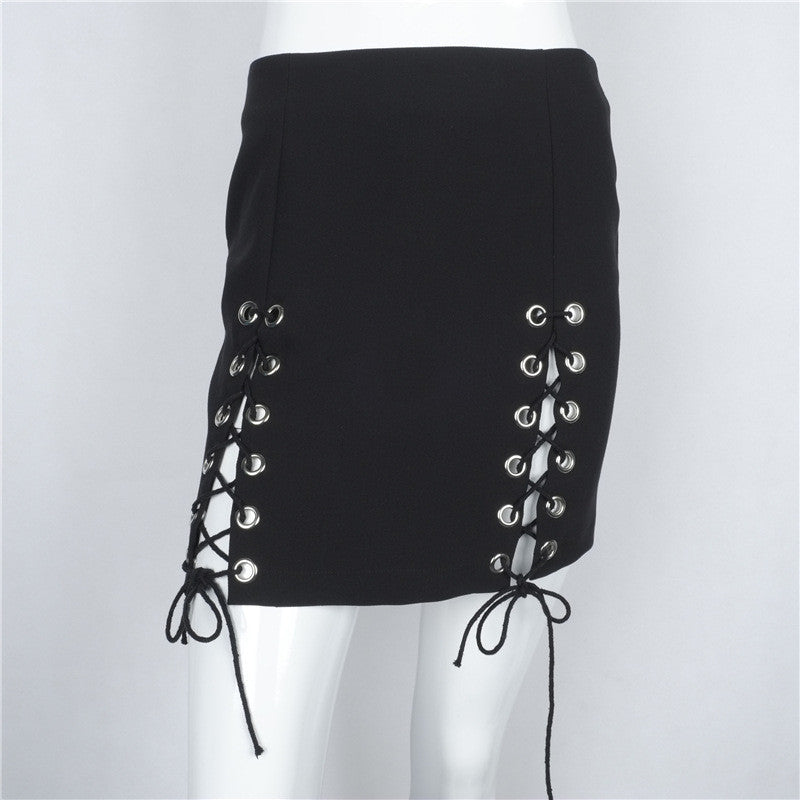 Hollow Out Lace Up Pure Color Bodycon Short Skirt