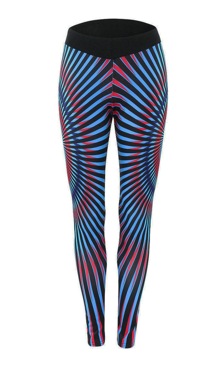 Sports Style Radiation Stripes Print Long Slim Leggings