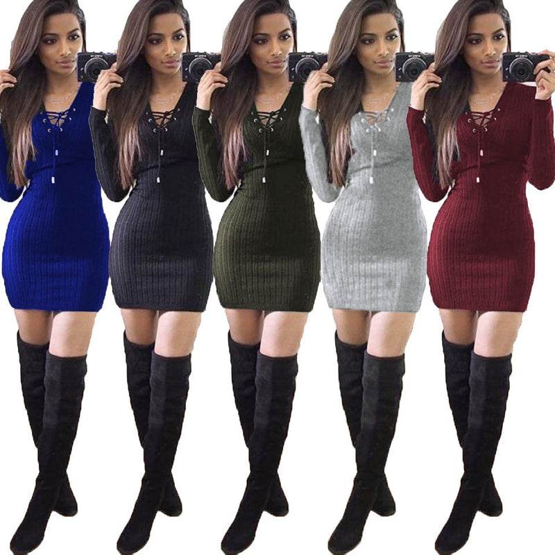 Sexy Lace Up Bodycon Short Dress