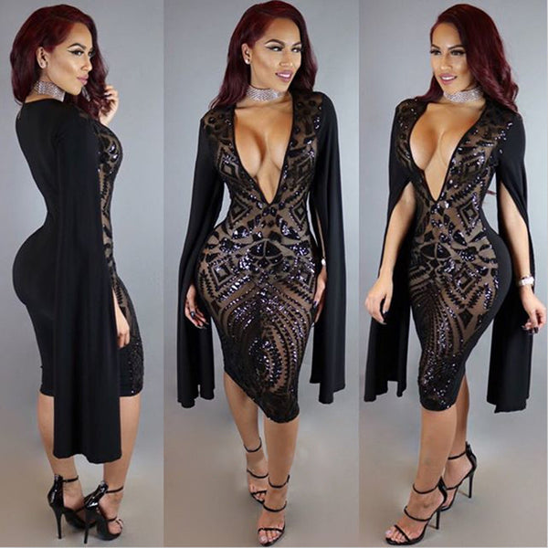 Long Split Sleeve Black Sequins Deep V Neck Bodycon Knee-Length Dress
