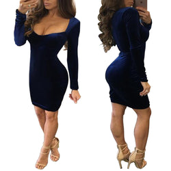 Sexy U Neck Long Sleeve Bodycon Short Dress