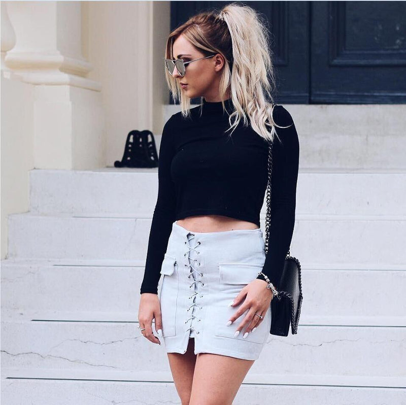 Fashion Suede Lace Up Pockets Short Bodycon Skirt