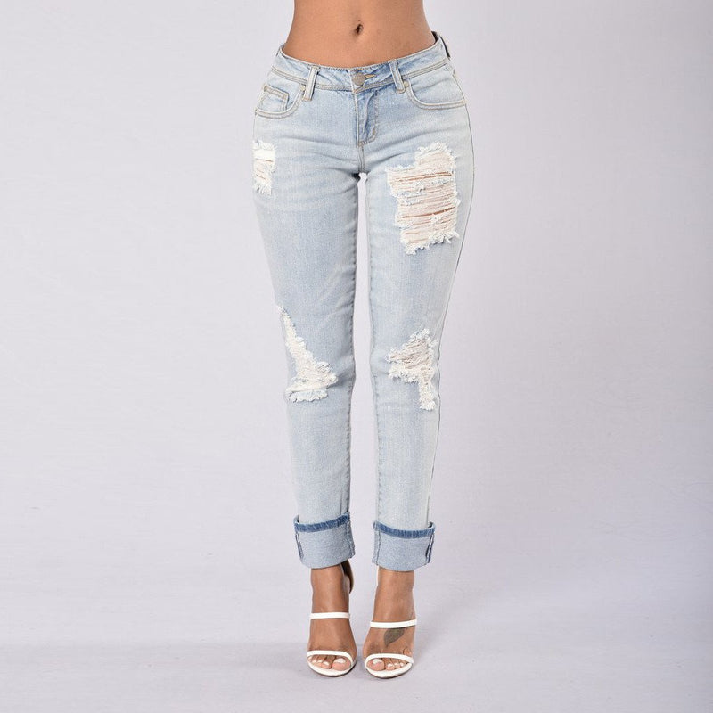 9/10 Holes Ripped Straight Slim Beggar Edge Jeans