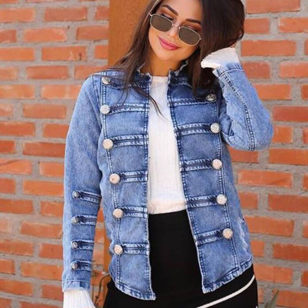 Fashion Double Breasted Denim Jacket